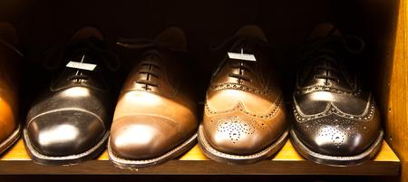 Italian shoes in a shop in Milan, close to Via Montenapoleone photo