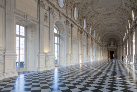 Detail of Galleria di Diana in Venaria, Italy. Luxury royal palace interior Editorial