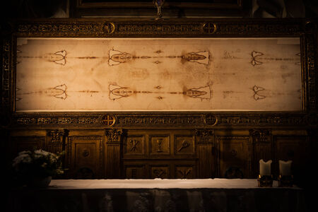 Detail of a copy of the Holy Shroud of Turin, Italy photo