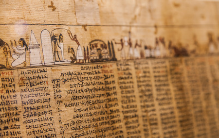 Detail of ancient Book of the Dead (1070 BC), Thebes - Egypt 新聞圖片