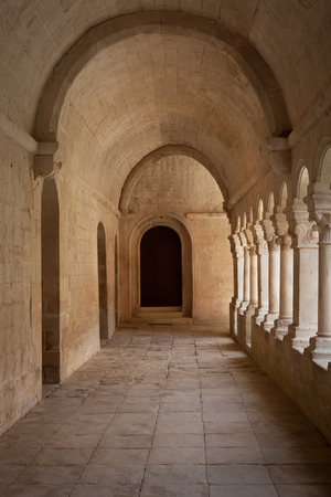 convent: France, Provence. Senanque Abbey corridor detail. More than 800 years of history in this picture.