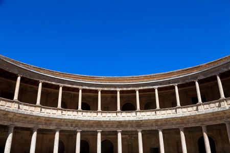 carlos: Granada - Alhambra. Unusual view of Carlos V Palace detail. Editorial
