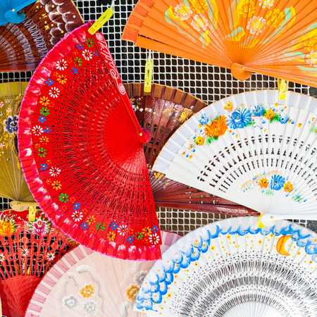 Bright colors on these traditional Spanish Fans in Saville, Andalusia Region. photo