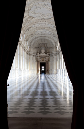 diana: Detail of Galleria di Diana in Venaria, Italy. Luxury royal palace interior Editorial