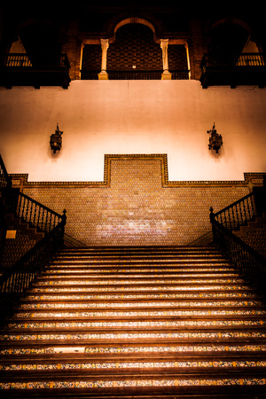Saville, Spain. Old Spanish Renaissance Revival staircase made of marble and wood.