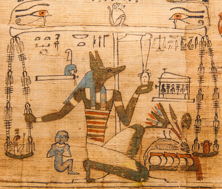 egypt anubis: Detail of ancient Book of the Dead (1070 BC), Thebes - Egypt Editorial