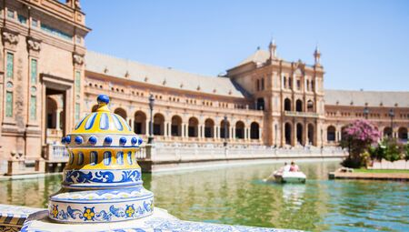 spanish architecture: Spain, Seville. Spain Square, a landmark example of the Renaissance Revival style in Spanish architecture Editorial