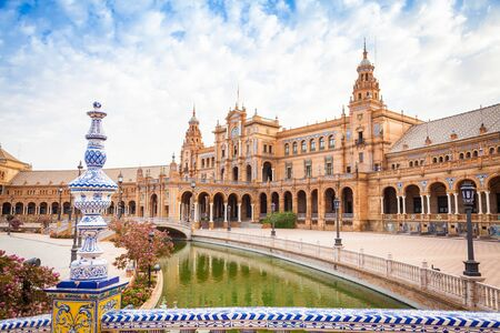 Spain, Seville. Spain Square, a landmark example of the Renaissance Revival style in Spanish architecture Editorial