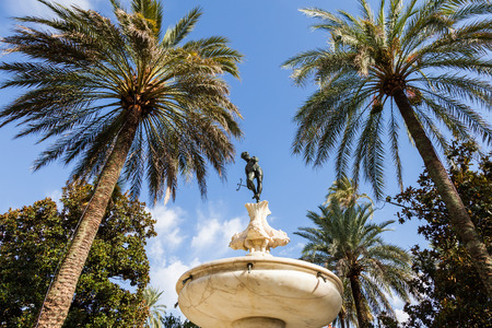 alcazar: Spain, Andalusia Region. Detail of Alcazar Royal Palace garden in Seville. Editorial