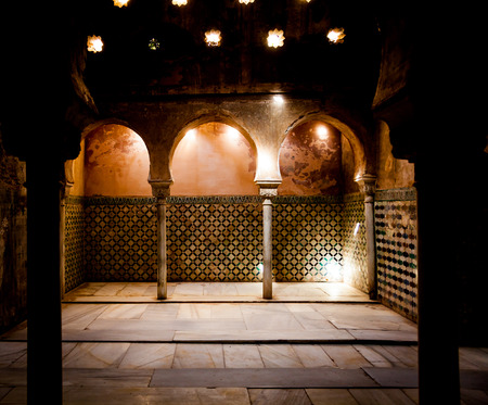 the  alhambra: Spain, Andalusia, Granada. Interior of Arabic Bathroom in Alhambra Palace Editorial