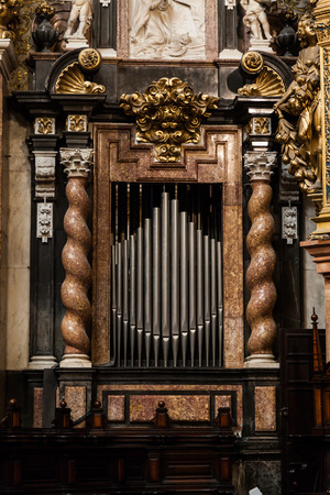 house of god: Detail of a 2 century old organ in a Spanish Catholic Church