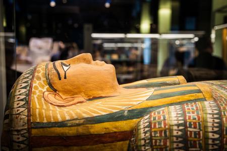 past civilization: Detail of an original Egyptian sarcophagus