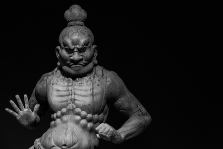 Japan, woodmade Kongorikishi statue, the muscular guardians of the Buddha, 13 century
