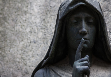 More than 100 years old statue. Cemetery located in North Italy. Standard-Bild