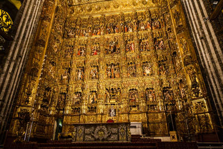 altar: Seville, Spain. Main Altar made of gold, 400 years old Editorial