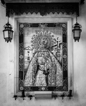 xx century: Spain, Andalusia region. Traditional Catholic Altar in public street for prayer, beginning XX century