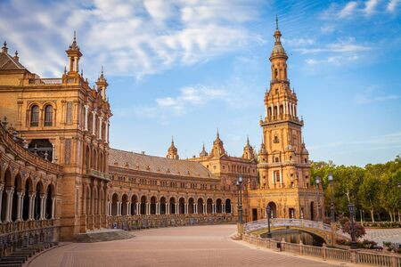 spanish architecture: Spain, Seville. Spain Square, a landmark example of the Renaissance Revival style in Spanish architecture Stock Photo