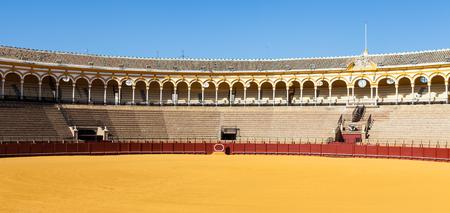 torero: The Plaza de Toros de la Real Maestranza de Caballería de Sevilla is the oldest bullring in the world. Stock Photo