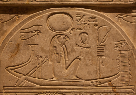 hieroglyphics: Ra or Re is the ancient Egyptian solar deity - 1000 B.C. Editorial