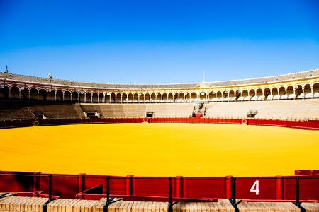 bullring: The Plaza de Toros de la Real Maestranza de Caballería de Sevilla is the oldest bullring in the world. Editorial