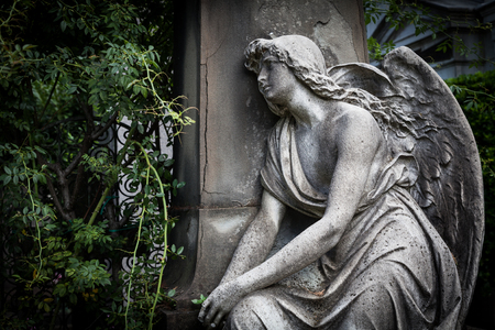 angel cemetery: More than 100 years old statue. Cemetery located in North Italy. Stock Photo