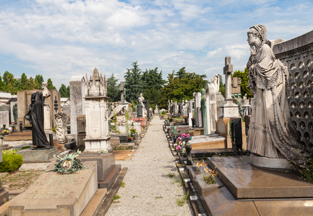 monumental cemetery: The oldest side of a Monumental Cemetery in North Italy