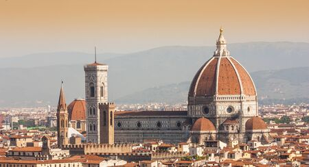 florence italy: Panoramic view from Piazzale Michelangelo in Florence - Italy Stock Photo