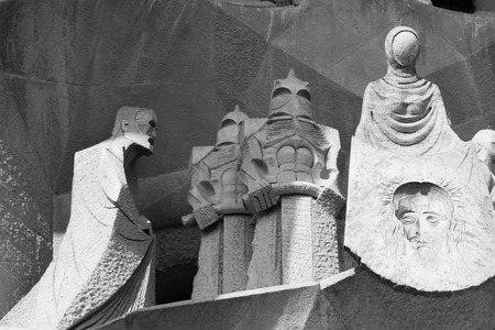 familia: Barcelona, Spain. Amazing esterior details of Sagrada Familia Church