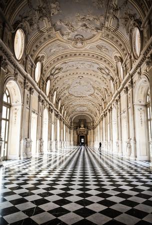 Mening van Galleria di Diana in Venaria Koninklijk Paleis, in de buurt van Turijn, Piemonte regio Redactioneel