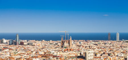 Barcelona - Spain. Wonderful blue sky during a sunny day on the city, with Sagrada Familia view. Stock Photo