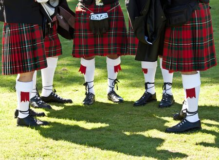 Detail of original Scottish kilts, during Highlands games