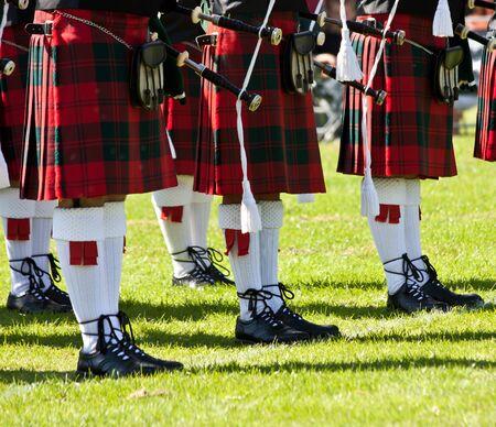sporran: Detail of original Scottish kilts, during Highlands games