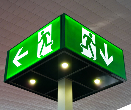 emergency light: Emergency exit sign, cube light on ceiling, concept Stock Photo