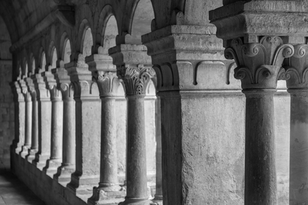 senanque: France, Provence. Senanque Abbey corridor detail. More than 800 years of history in this picture.