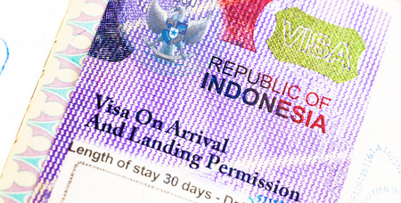 customs official: Detail of 2014 Indonesia Visa on passport Stock Photo