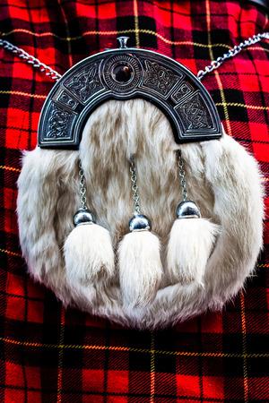 sporran: Detail of a Scottish kilt, typical landmark Stock Photo