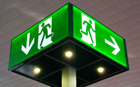 emergency exit: Emergency exit sign, cube light on ceiling, concept Stock Photo