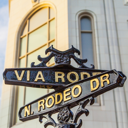 Famous steetsigh of Rodeo Dr in Los Angeles, the Luxury block 免版税图像