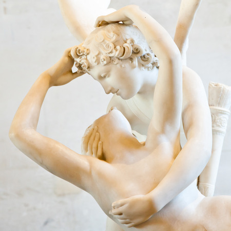 commissioned: Antonio Canovas statue Psyche Revived by Cupids Kiss, first commissioned in 1787, exemplifies the Neoclassical devotion to love and emotion Stock Photo
