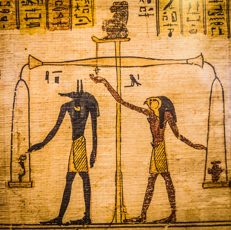 egypt anubis: Detail of ancient Book of the Dead (1070 BC), Thebes - Egypt Stock Photo