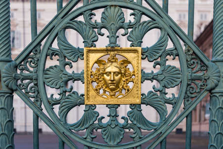 mistery: Turin, Italy. Detail of the original fence of the Royal Palace Stock Photo