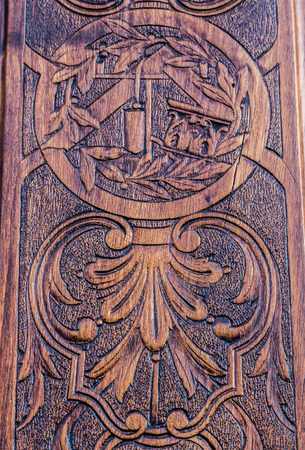 misterious: Detail of the  freemasonry door in Turin (Torino) - Italy