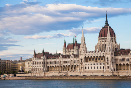 notable: The Hungarian Parliament Building, a notable landmark of Hungary and a popular tourist destination of Budapest. Stock Photo