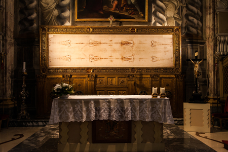 shroud: Detail of a copy of the Holy Shroud of Turin, Italy