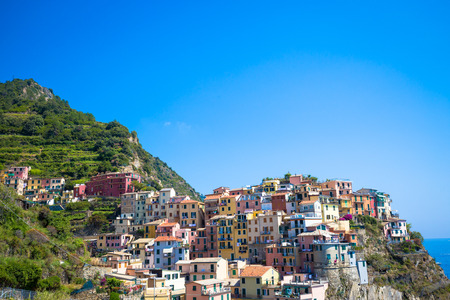 Spectacular panorama of Manarola Town in Cinque Terre during a sunny day Stock Photo