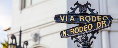 Famous steetsigh of Rodeo Dr in Los Angeles, the Luxury block Stock Photo