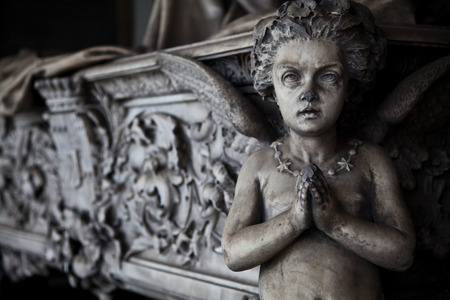 turism: Collection of the most beautiful and moving architectures examples in European cemeteries Stock Photo