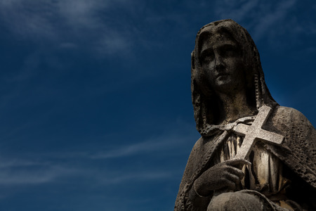 grieve: Cemetery statue in Italy, made of stone - more than 100 years old Stock Photo
