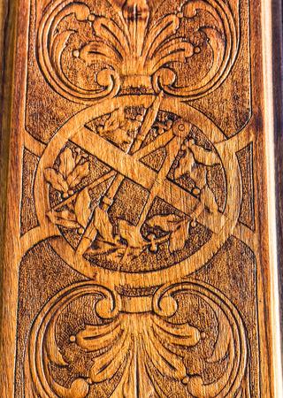 misterious: Detail of the  freemasonry door in Turin (Torino) - Italy