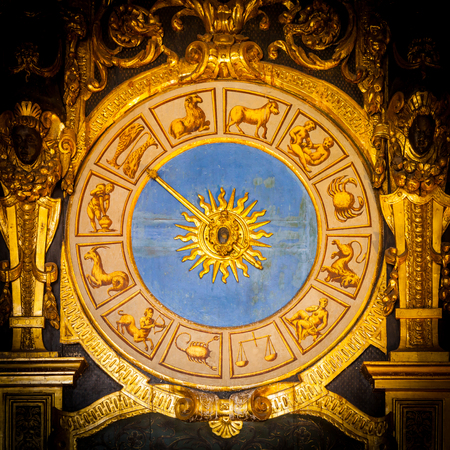 Venice, Italy. Detail of the Astronomical Clock in Palazzo Ducale